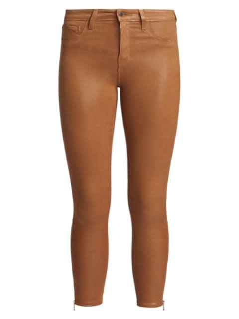 L'Agence Sabine High-Rise Ankle Coated Skinny Jeans   SaksFifthAvenue