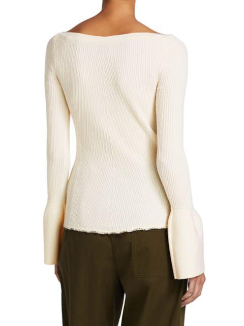 3.1 Phillip Lim Long Bell-Sleeve Wool Rib-Knit Sweater   SaksFifthAvenue