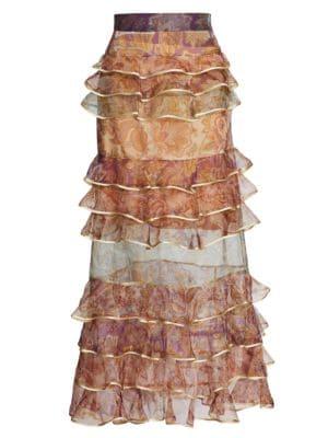 Zimmermann Lucky Tiered Silk Skirt