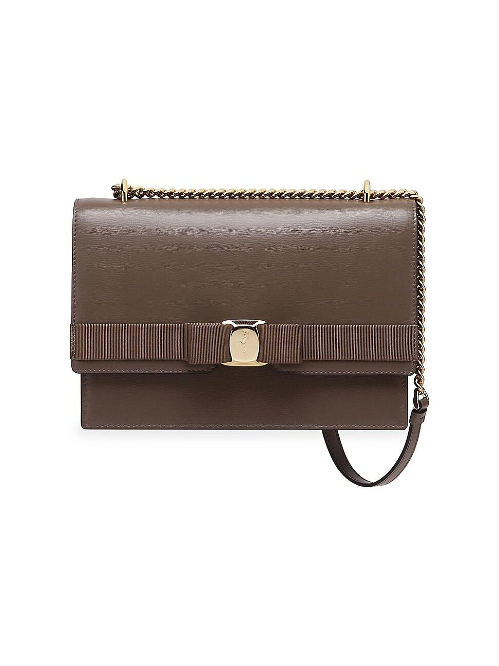 Salvatore Ferragamo Women's Vara Leather Shoulder Bag In Charcoal
