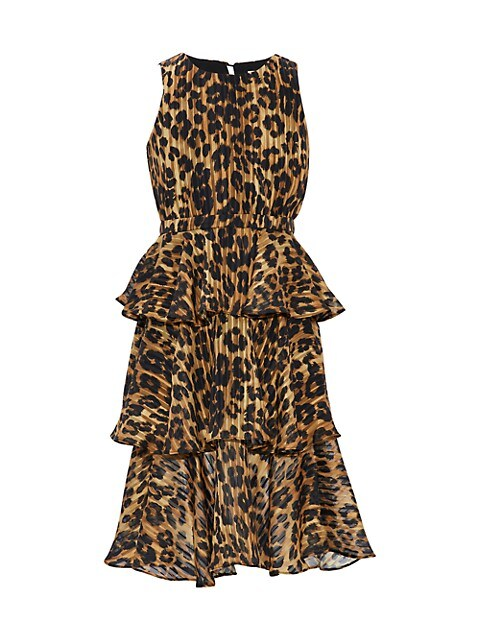 Girl's Emiliana Cheetah Burnout-Print Tiered Maxi Dress
