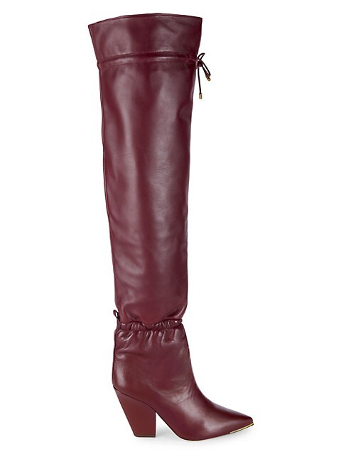 Tory Burch Lila Over-The-Knee Leather Scrunch Boots