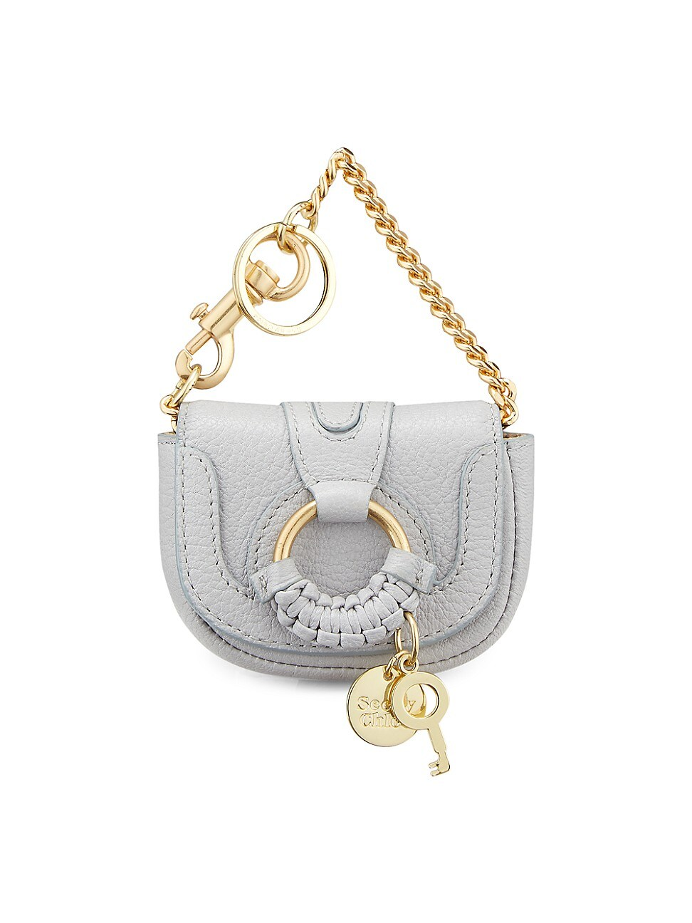 See By Chloé WOMEN'S HANA LEATHER KEYCHAIN - ARTIC ICE