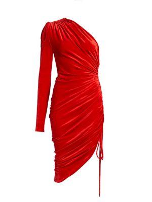 Monse Velvet Ruched One-Shoulder Drawstring Cocktail Dress