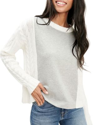Splendid French Terry & Cable Knit Sweater