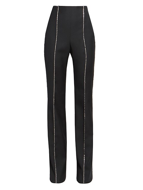 High-Waist Wool Pants With Crystal Embellished Piping