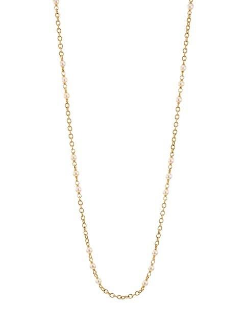 Piazza Della Scala 18K Yellow Gold & Round Freshwater Pearl Chain Necklace