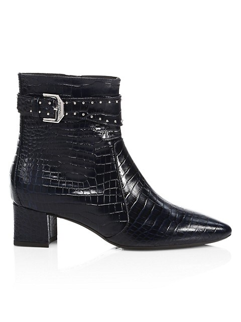 Prisca Croc-Embossed Leather Ankle Boots