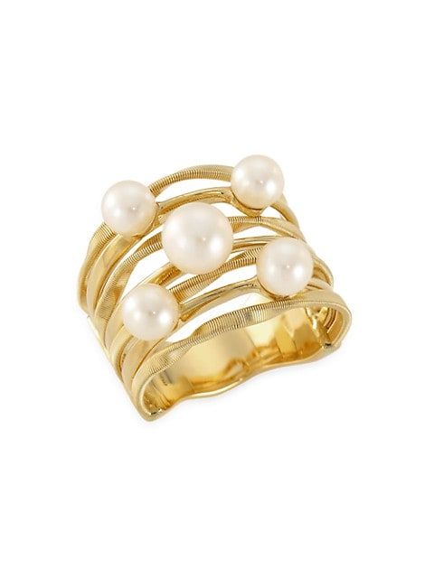 Marrakech Onde 18K Yellow Gold & 3-4MM Pearl Coil Strand Ring
