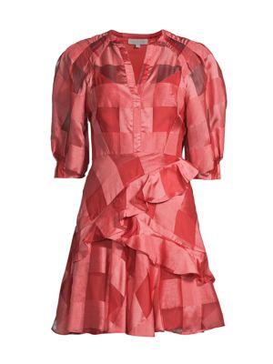 Rebecca Taylor Organza Check Long-Sleeve Dress