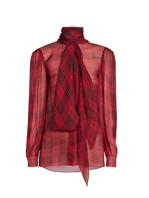 Sheer Galle Check Tie Neck Blouse