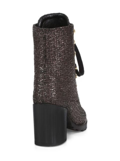 Stuart Weitzman Ivey Metallic Tweed Combat Boots | SaksFifthAvenue