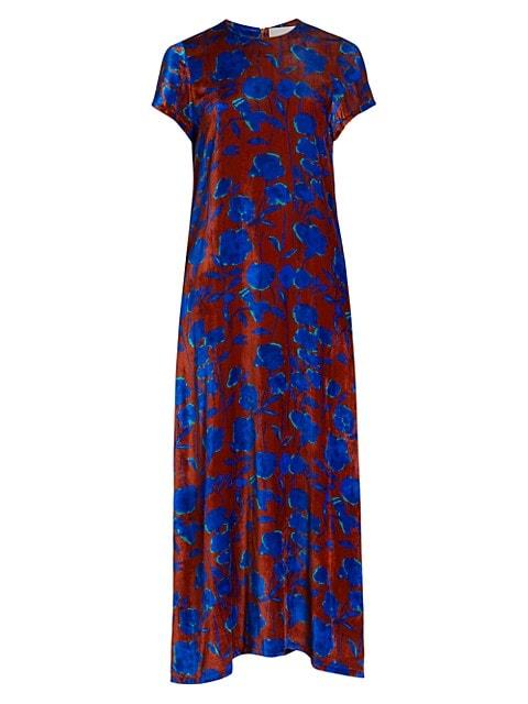 Edition 22 Floral Velvet Sable Silk-Blend Swing Dress
