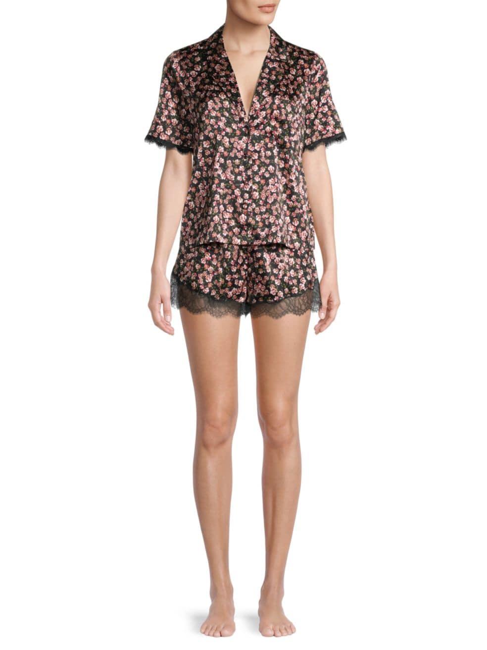 Cami NYC 2-Piece Silk Leopard-Print Lace Pajama Set | SaksFifthAvenue
