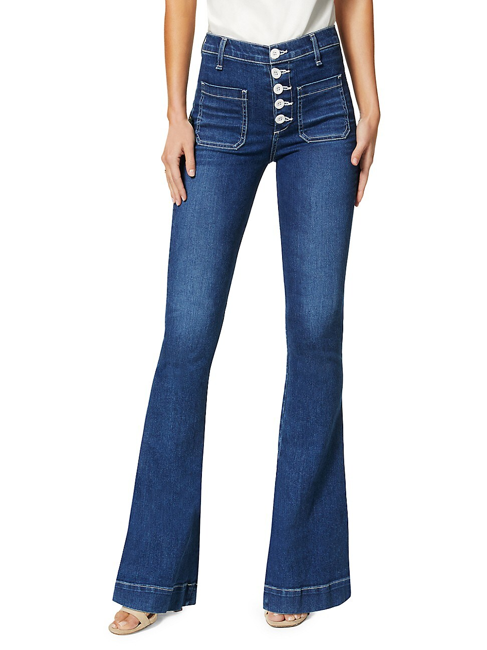 Ramy Brook WOMEN'S CINDY BUTTON-FLY FLARE JEANS
