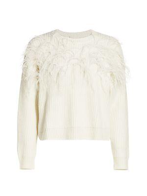 Cinq À Sept Wools Melanie Ostrich Feather Wool-Blend Sweater