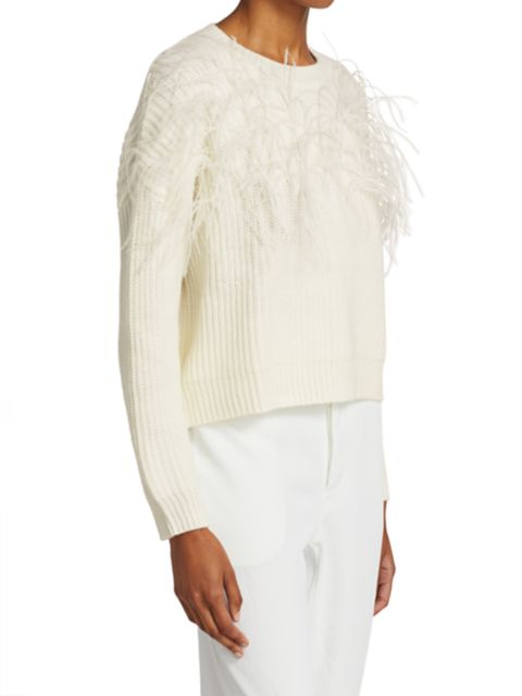 Cinq à Sept Melanie Ostrich Feather Wool-Blend Sweater | SaksFifthAvenue