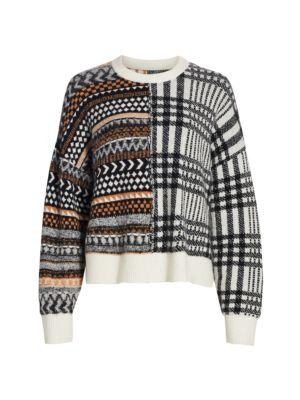 Cinq À Sept Wools Shania Patchwork Print Alpaca & Wool-Blend Sweater