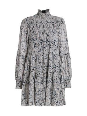Cinq À Sept Dresses Rika Paisley Long-Sleeve Highneck Shift Dress