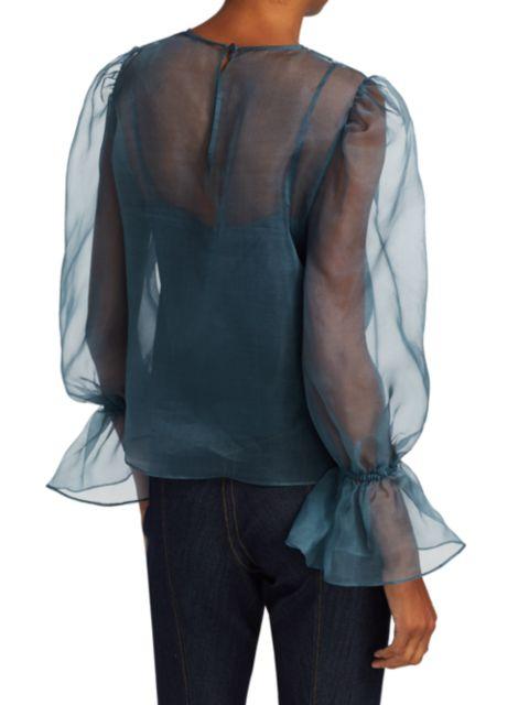 Cinq à Sept Mae Long Puff-Sleeve Tulle Silk Blouse | SaksFifthAvenue