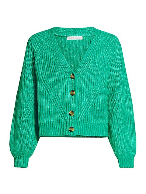 Knit Puff-Sleeve Cardigan