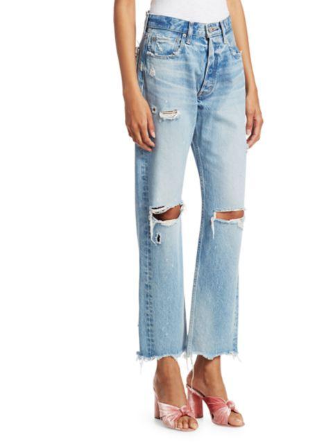 Moussy Vintage Odessa Distressed Wide Straight-Leg Jeans   SaksFifthAvenue