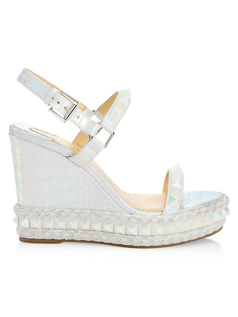 Pyraclou Metallic Croc-Embossed Leather Wedge Platform Sandals