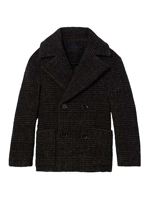 Plaid Wool Short Double Breasted Coat