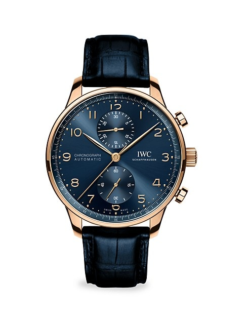 Portugieser 18K 5N Gold & Alligator Strap Chronograph Boutique Watch