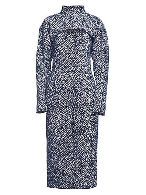 Herringbone Jacquard Removable Shrug Knit Midi Dress