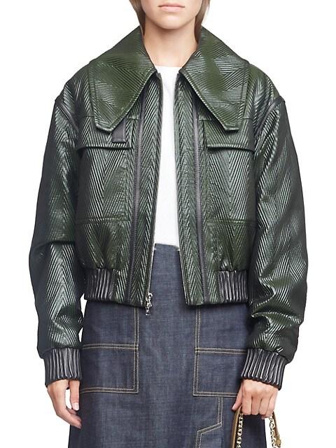 Lacquered Herringbone Bomber Jacket
