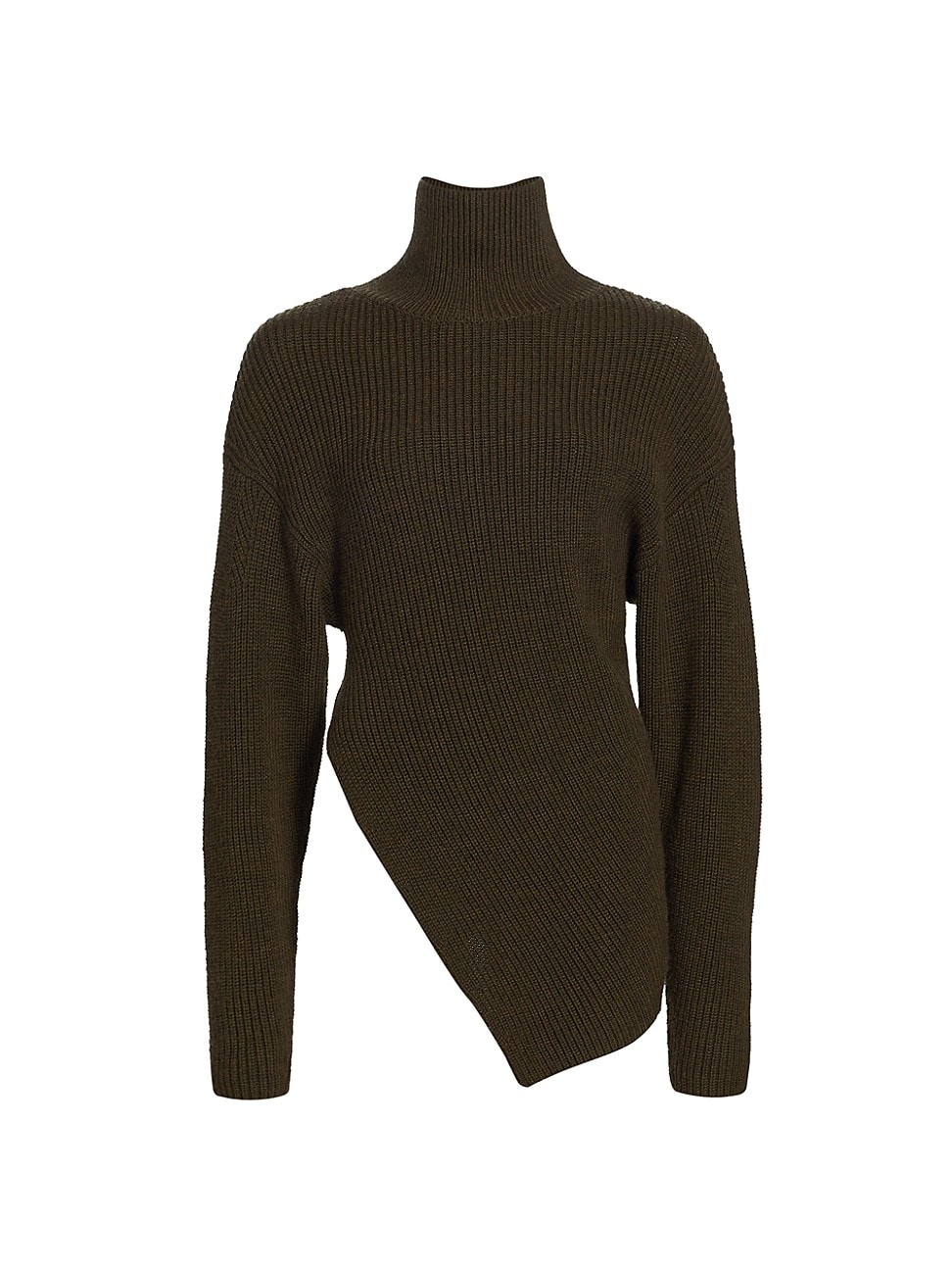 Proenza Schouler WOMEN'S MERINO WOOL ASYMMETRIC TURTLENECK SWEATER - FATIGUE - SIZE MEDIUM