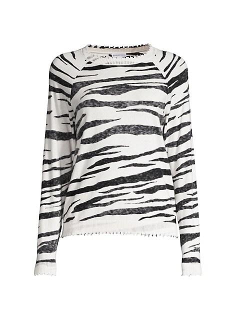 Distressed Tiger-Stripe Cotton & Cashmere Sweater