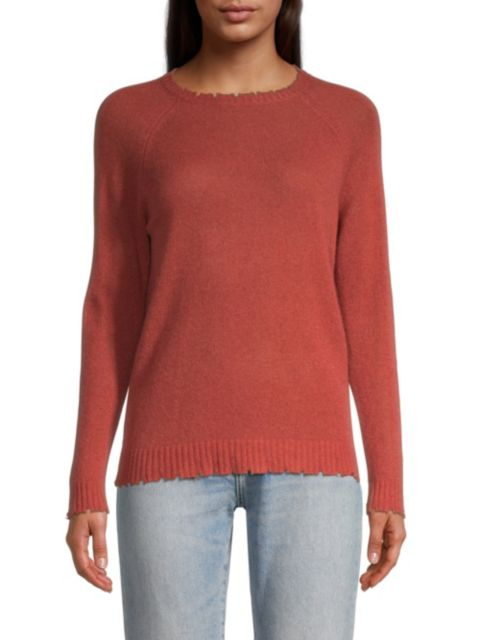 Minnie Rose Distressed Cashmere Sweater   SaksFifthAvenue