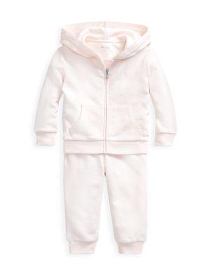 폴로 랄프로렌 베이비 커버올 우주복 (아기옷 선물 추천) Polo Ralph Lauren Baby Girls 2-Piece Atlantic Terry Jogger Set,DELICATE PINK
