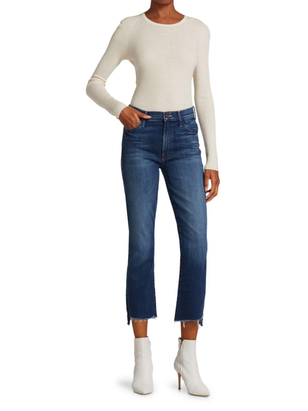 Mother The Insider Crop Step Fray Jeans | SaksFifthAvenue