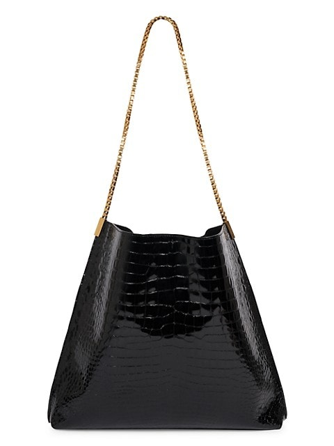 Medium Suzanne Croc-Embossed Leather Hobo Bag