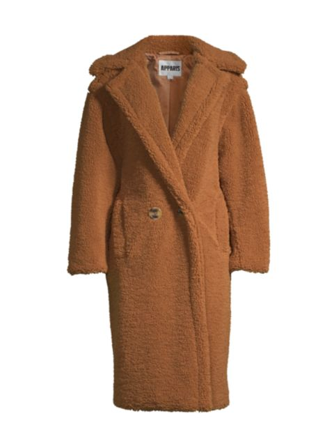 Apparis Daryna Double-Breasted Faux Shearling Coat | SaksFifthAvenue