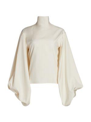 Victoria Beckham Bishop-Sleeve Silk Highneck Blouse