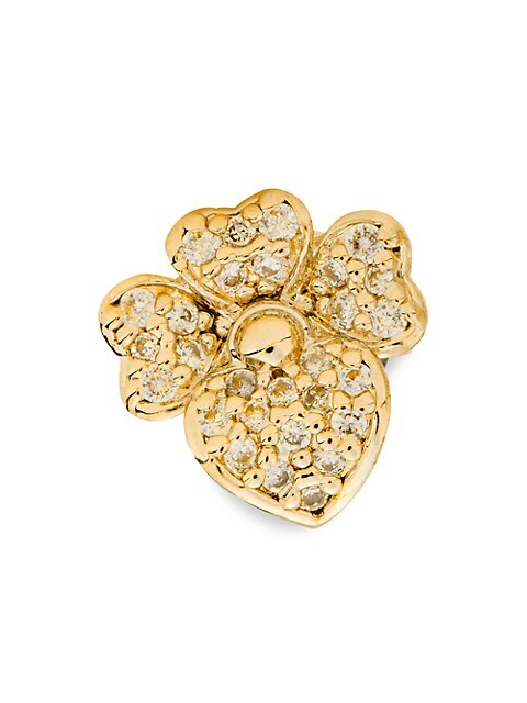 Goldtone & Cubic Zirconia Pavé Pansy Stud Earrings