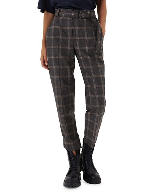 Windowpane D-Ring Wool Pants