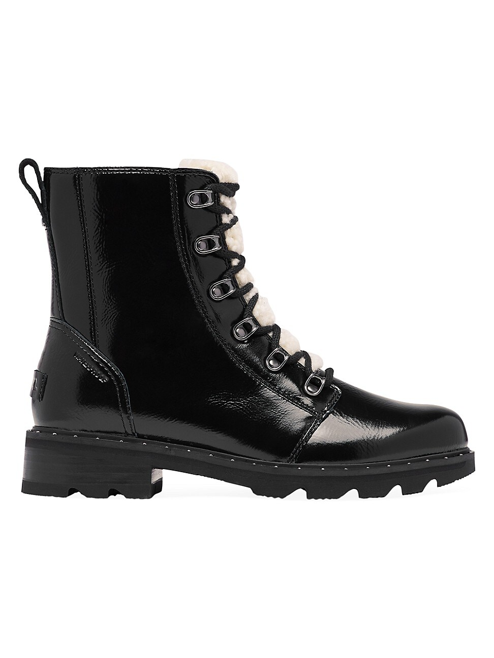 Sorel Leathers WOMEN'S LENNOX SHEARLING-TRIMMED PATENT LEATHER COMBAT BOOTS