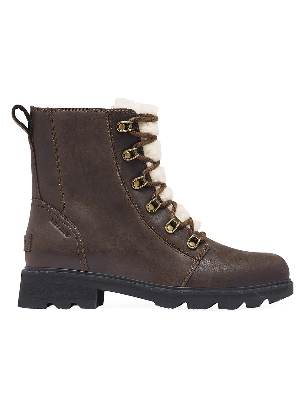 Sorel WOMEN'S LENNOX SHEARLING-LINED LEATHER COMBAT BOOTS