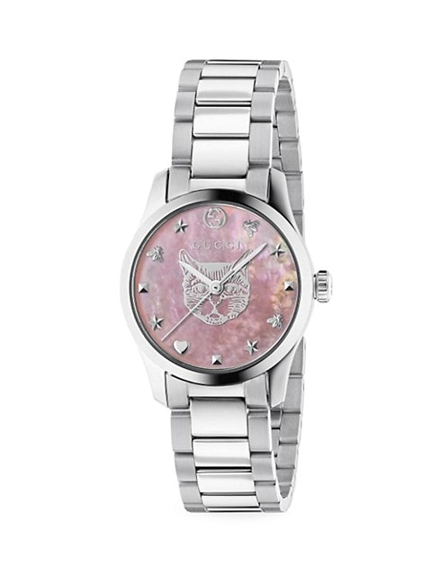 G-Timeless Iconic Stainless Steel & Pink Mother-Of-Pearl Bracelet Watch