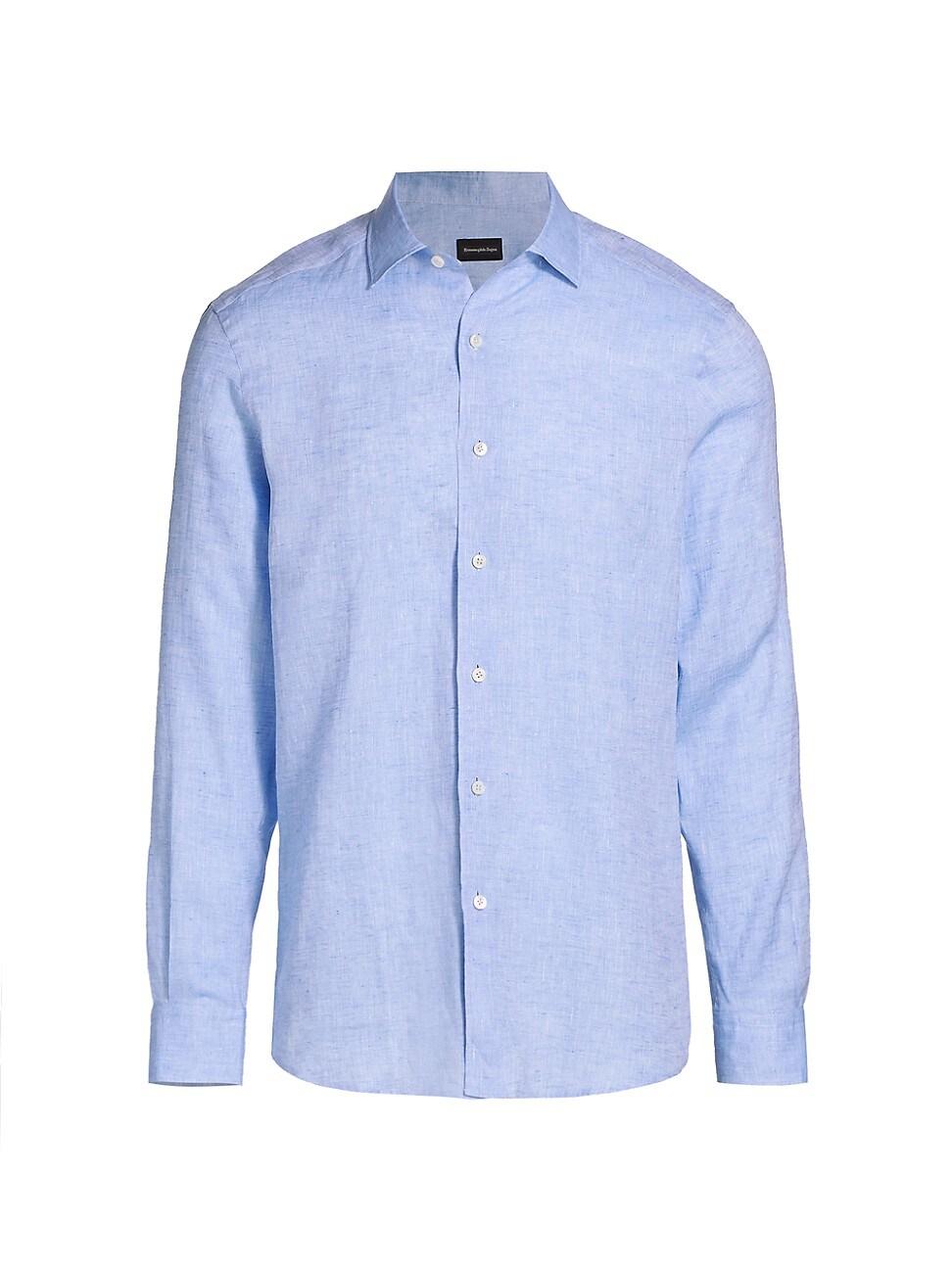 Ermenegildo Zegna Solid Linen Shirt In Light Blue