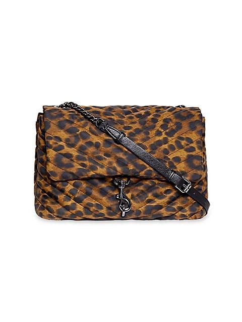Jumbo Edie Quilted Leopard-Print Shoulder Bag