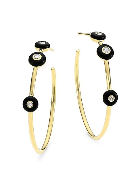Carnevale 18K Yellow Gold, Diamond & Black Ceramic Hoop Earrings