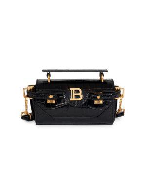Balmain Leathers B-Buzz Croc-Embossed Leather Baguette
