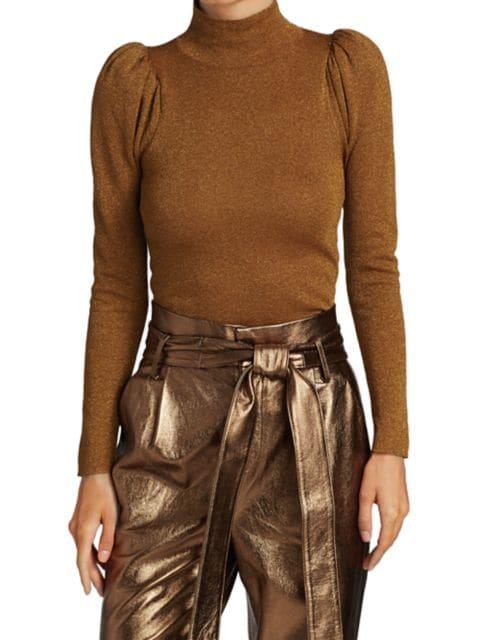 Alice + Olivia Issa Glitter Puff-Sleeve Turtleneck Sweater | SaksFifthAvenue