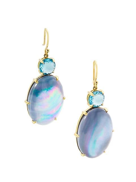 Rock Candy® 18K Yellow Gold, Swiss Blue Topaz & Onyx Drop Earrings